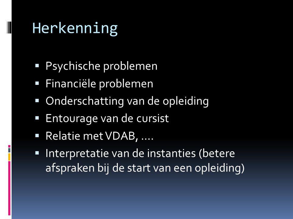 Herkenning  Psychische problemen  Financiële problemen  Onderschatting van de opleiding  Entourage van de cursist  Relatie met VDAB, ….