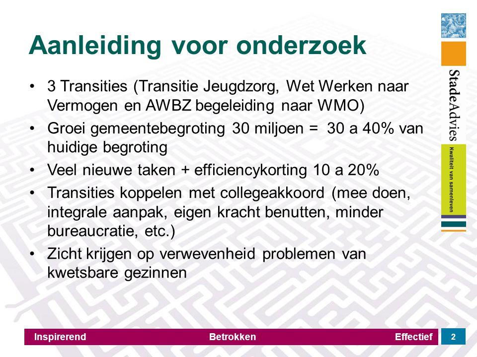 Aanleiding voor onderzoek Inspirerend Betrokken Effectief 2 3 Transities (Transitie Jeugdzorg, Wet Werken naar Vermogen en AWBZ begeleiding naar WMO)