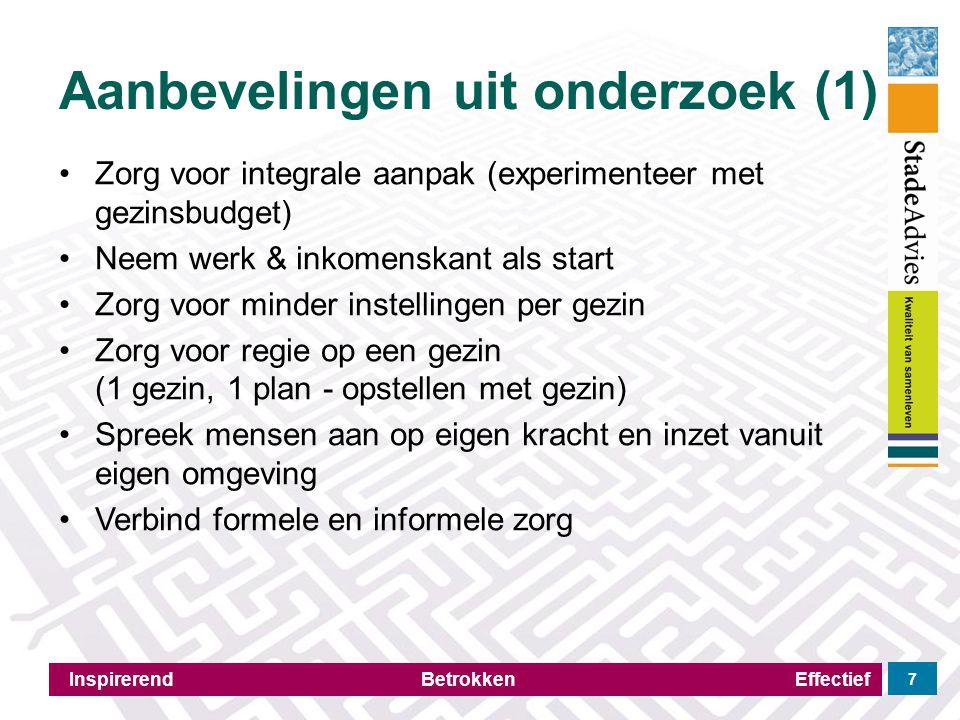 Aanbevelingen uit onderzoek (1) Inspirerend Betrokken Effectief 7 Zorg voor integrale aanpak (experimenteer met gezinsbudget) Neem werk & inkomenskant