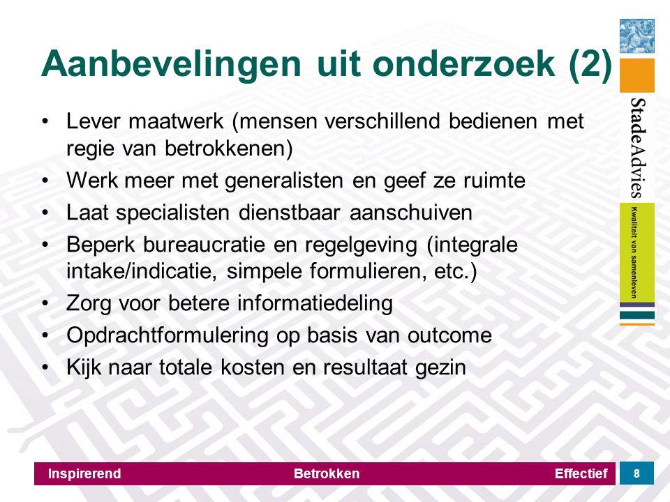 Aanbevelingen uit onderzoek (2) Inspirerend Betrokken Effectief 8 Lever maatwerk (mensen verschillend bedienen met regie van betrokkenen) Werk meer me