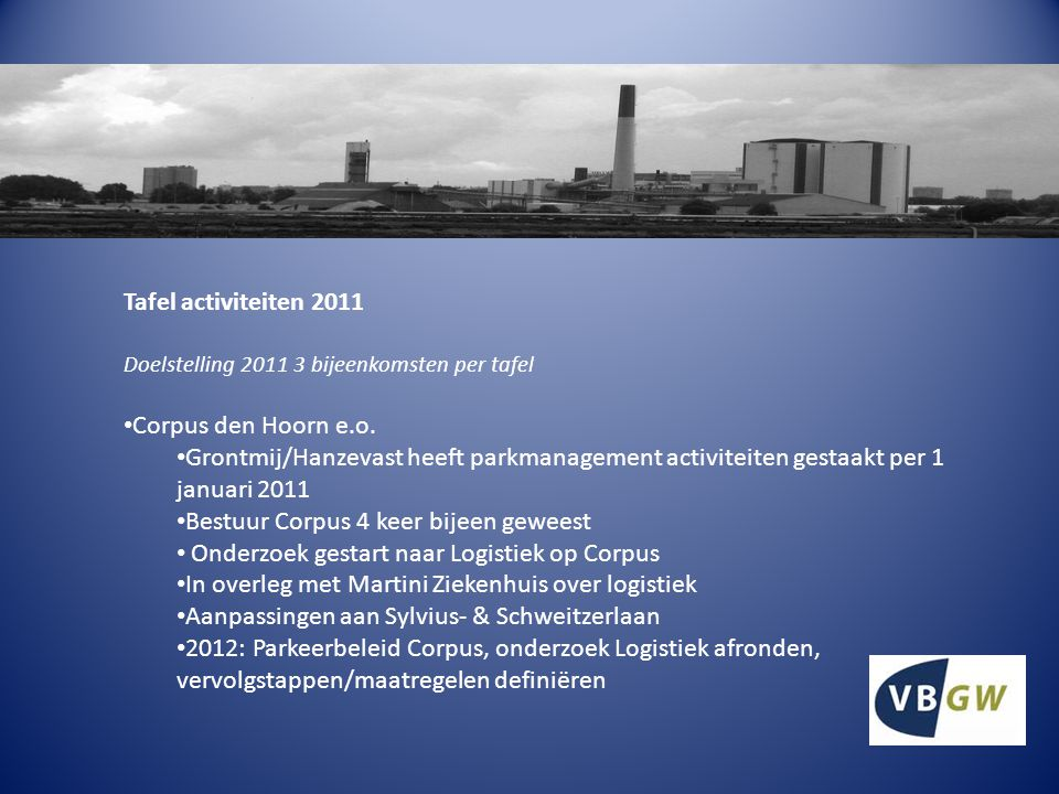 Tafel activiteiten 2011 Doelstelling 2011 3 bijeenkomsten per tafel Corpus den Hoorn e.o.