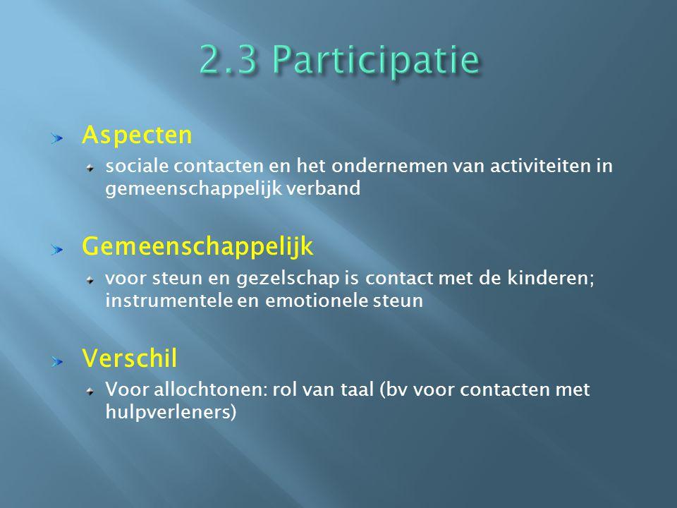 Aspecten sociale contacten en het ondernemen van activiteiten in gemeenschappelijk verband Gemeenschappelijk voor steun en gezelschap is contact met de kinderen; instrumentele en emotionele steun Verschil Voor allochtonen: rol van taal (bv voor contacten met hulpverleners)