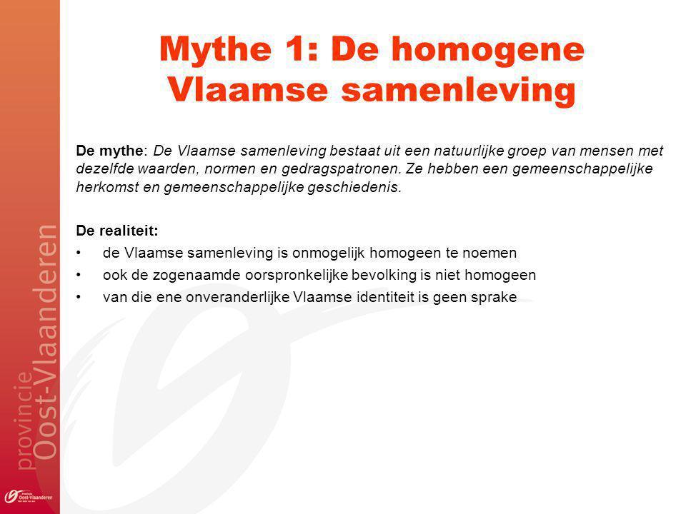 Mythe 1: De homogene Vlaamse samenleving De mythe: De Vlaamse samenleving bestaat uit een natuurlijke groep van mensen met dezelfde waarden, normen en gedragspatronen.
