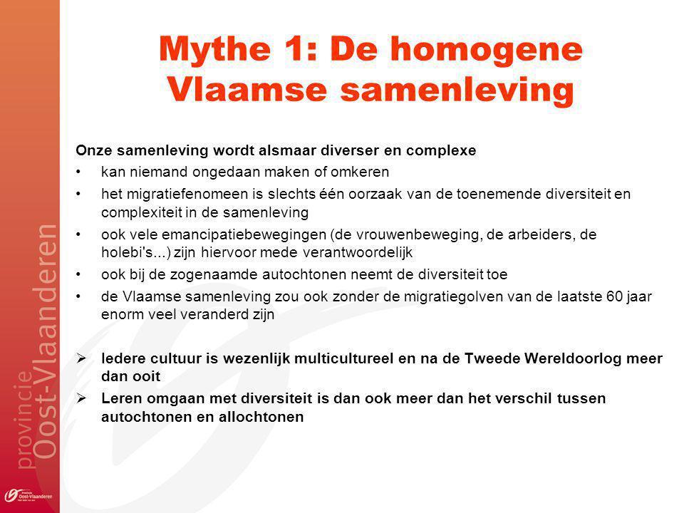 Mythe 1: De homogene Vlaamse samenleving Onze samenleving wordt alsmaar diverser en complexe kan niemand ongedaan maken of omkeren het migratiefenomeen is slechts één oorzaak van de toenemende diversiteit en complexiteit in de samenleving ook vele emancipatiebewegingen (de vrouwenbeweging, de arbeiders, de holebi s...) zijn hiervoor mede verantwoordelijk ook bij de zogenaamde autochtonen neemt de diversiteit toe de Vlaamse samenleving zou ook zonder de migratiegolven van de laatste 60 jaar enorm veel veranderd zijn  Iedere cultuur is wezenlijk multicultureel en na de Tweede Wereldoorlog meer dan ooit  Leren omgaan met diversiteit is dan ook meer dan het verschil tussen autochtonen en allochtonen
