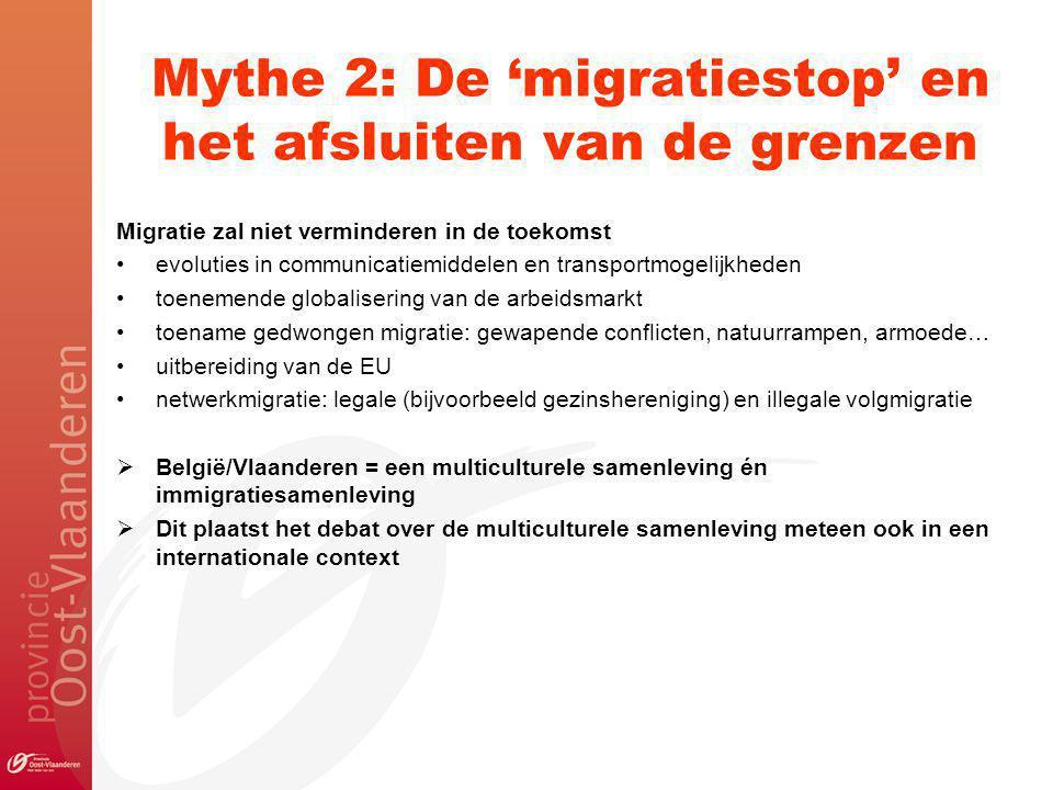 Mythe 2: De 'migratiestop' en het afsluiten van de grenzen Migratie zal niet verminderen in de toekomst evoluties in communicatiemiddelen en transportmogelijkheden toenemende globalisering van de arbeidsmarkt toename gedwongen migratie: gewapende conflicten, natuurrampen, armoede… uitbereiding van de EU netwerkmigratie: legale (bijvoorbeeld gezinshereniging) en illegale volgmigratie  België/Vlaanderen = een multiculturele samenleving én immigratiesamenleving  Dit plaatst het debat over de multiculturele samenleving meteen ook in een internationale context