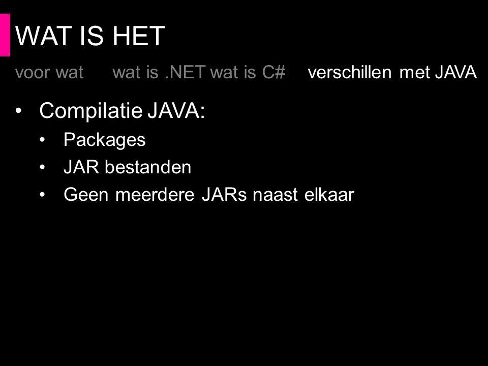 WAT IS HET Compilatie JAVA: Packages JAR bestanden Geen meerdere JARs naast elkaar voor watwat is.NETwat is C#verschillen met JAVA