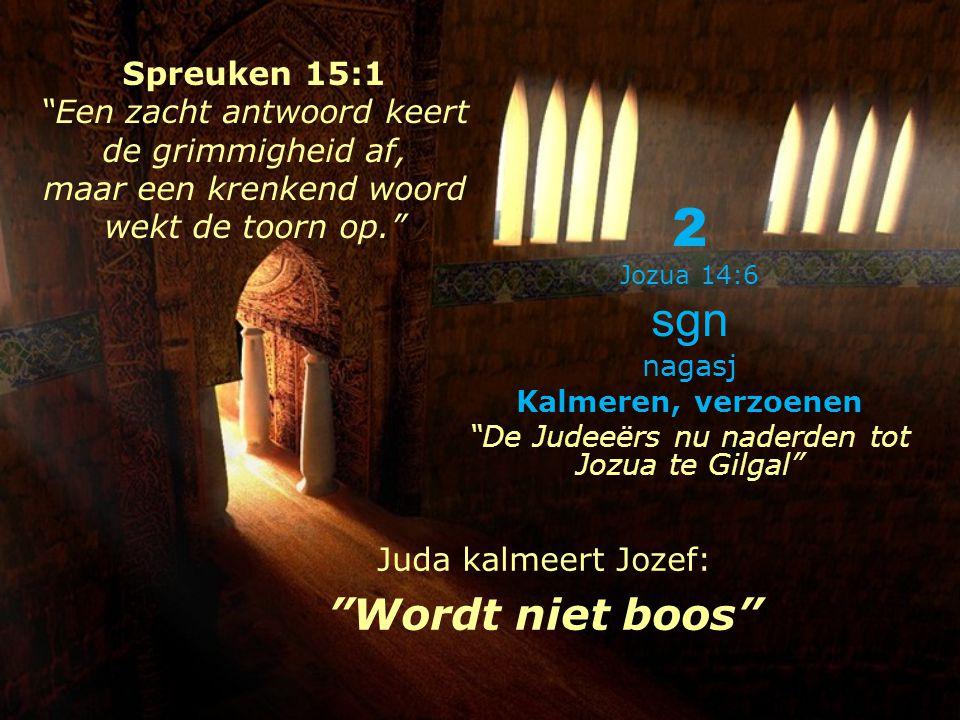 2 Jozua 14:6 sgn nagasj Kalmeren, verzoenen De Judeeërs nu naderden tot Jozua te Gilgal Juda kalmeert Jozef: Wordt niet boos Spreuken 15:1 Een zacht antwoord keert de grimmigheid af, maar een krenkend woord wekt de toorn op.