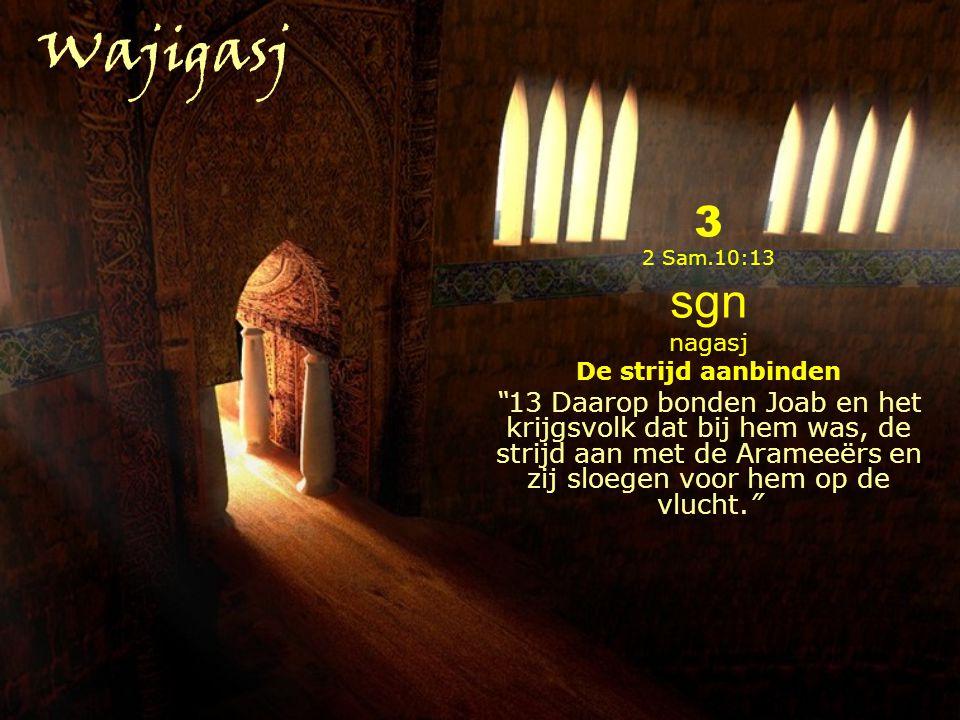 3 2 Sam.10:13 sgn nagasj De strijd aanbinden 13 Daarop bonden Joab en het krijgsvolk dat bij hem was, de strijd aan met de Arameeërs en zij sloegen voor hem op de vlucht. Wajigasj