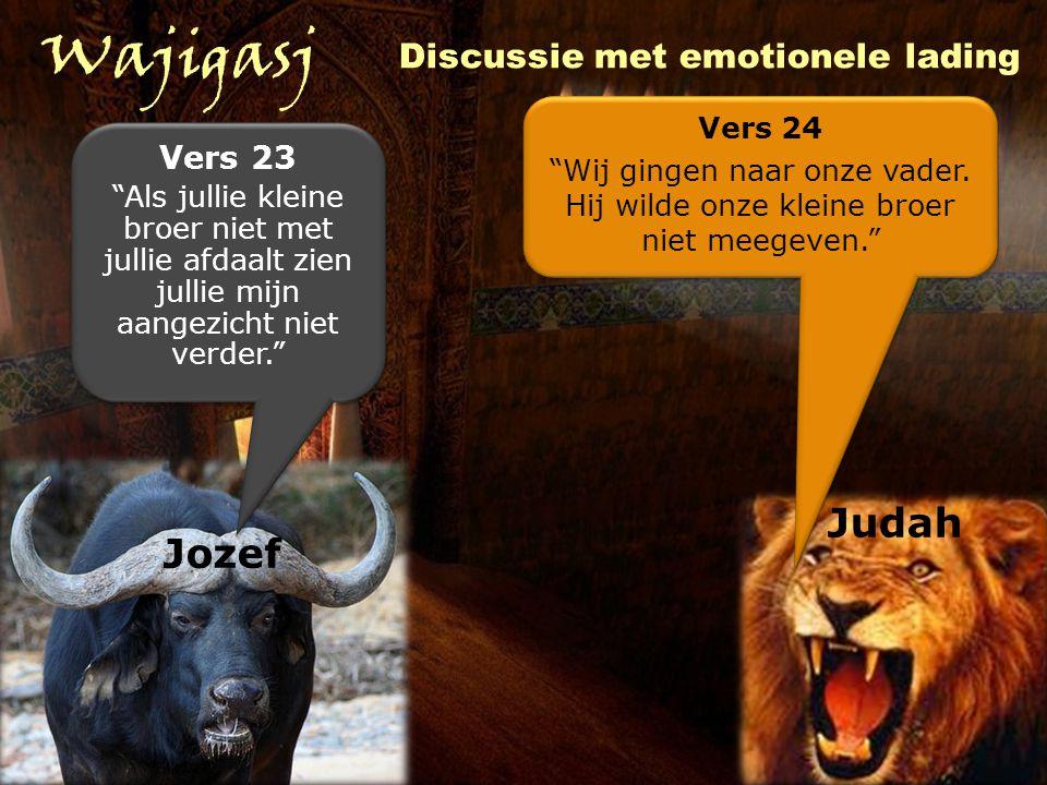 Wajigasj Discussie met emotionele lading Jozef Judah Vers 23 Als jullie kleine broer niet met jullie afdaalt zien jullie mijn aangezicht niet verder. Vers 23 Als jullie kleine broer niet met jullie afdaalt zien jullie mijn aangezicht niet verder. Vers 24 Wij gingen naar onze vader.