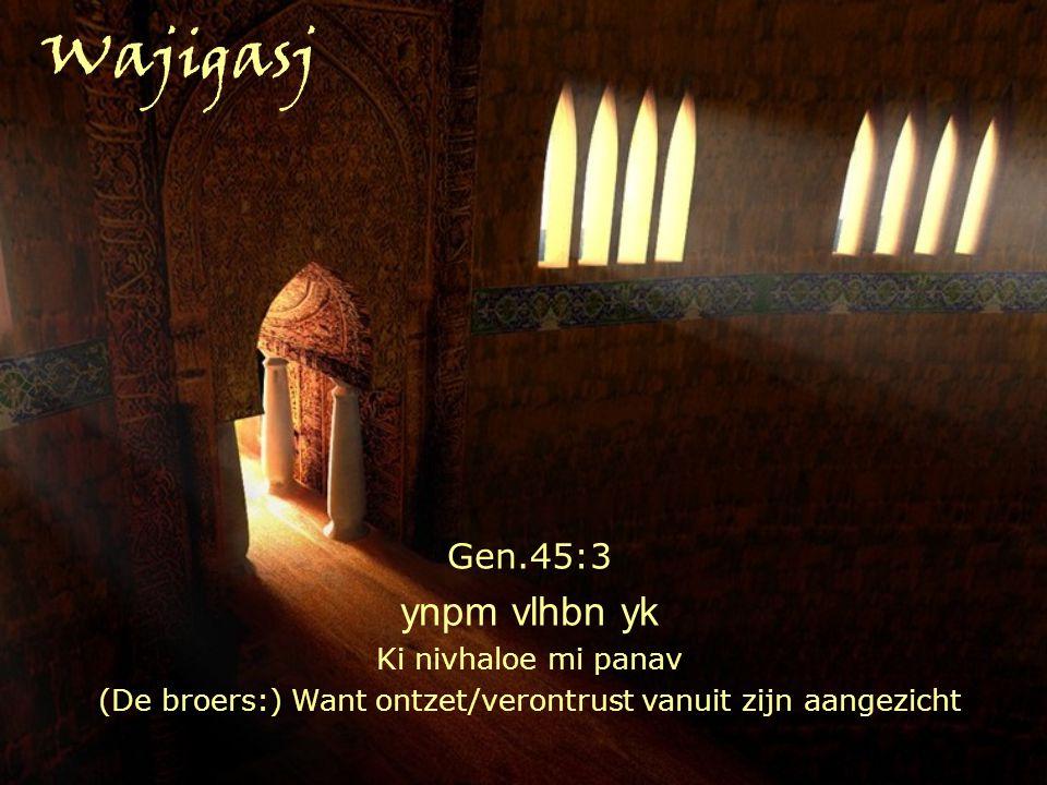 Gen.45:3 ynpm vlhbn yk Ki nivhaloe mi panav (De broers:) Want ontzet/verontrust vanuit zijn aangezicht Wajigasj