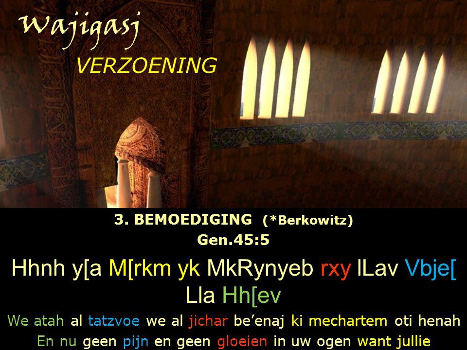 Wajigasj 3. BEMOEDIGING (*Berkowitz) Gen.45:5 Hhnh y[a M[rkm yk MkRynyeb rxy lLav Vbje[ Lla Hh[ev We atah al tatzvoe we al jichar be'enaj ki mechartem