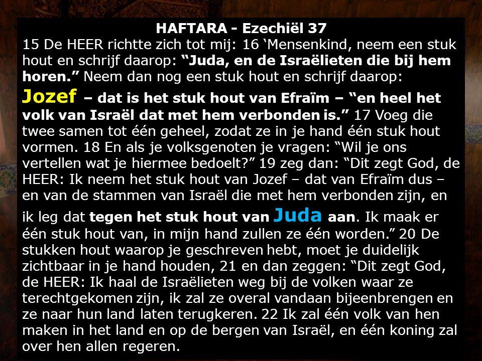 """HAFTARA - Ezechiël 37 15 De HEER richtte zich tot mij: 16 'Mensenkind, neem een stuk hout en schrijf daarop: """"Juda, en de Israëlieten die bij hem hore"""