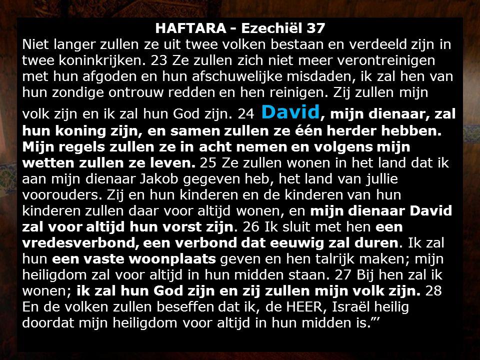 HAFTARA - Ezechiël 37 Niet langer zullen ze uit twee volken bestaan en verdeeld zijn in twee koninkrijken. 23 Ze zullen zich niet meer verontreinigen
