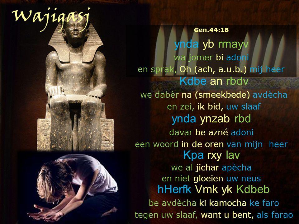 Kdbe an rbdv we dabèr na (smeekbede) avdècha en zei, ik bid, uw slaaf ynda ynzab rbd davar be azné adoni een woord in de oren van mijn heer Kpa rxy lav we al jichar apècha en niet gloeien uw neus hHerfk Vmk yk Kdbeb be avdècha ki kamocha ke faro tegen uw slaaf, want u bent, als farao Gen.44:18 ynda yb rmayv wa jomer bi adoni en sprak, Oh (ach, a.u.b.) mij heer