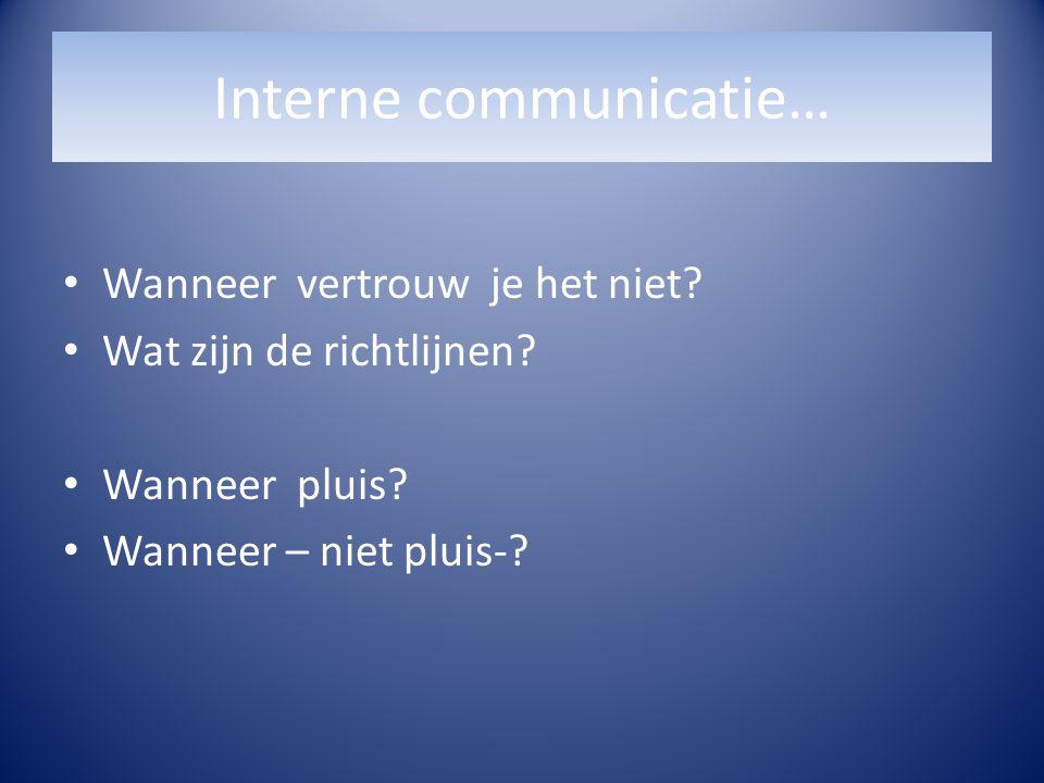 Interne communicatie… Wanneer vertrouw je het niet? Wat zijn de richtlijnen? Wanneer pluis? Wanneer – niet pluis-?