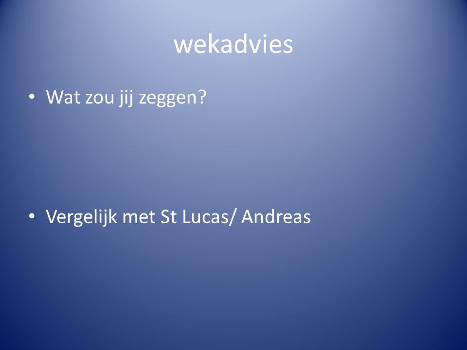 wekadvies Wat zou jij zeggen? Vergelijk met St Lucas/ Andreas