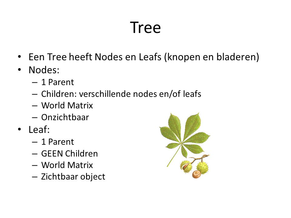 Tree Een Tree heeft Nodes en Leafs (knopen en bladeren) Nodes: – 1 Parent – Children: verschillende nodes en/of leafs – World Matrix – Onzichtbaar Leaf: – 1 Parent – GEEN Children – World Matrix – Zichtbaar object