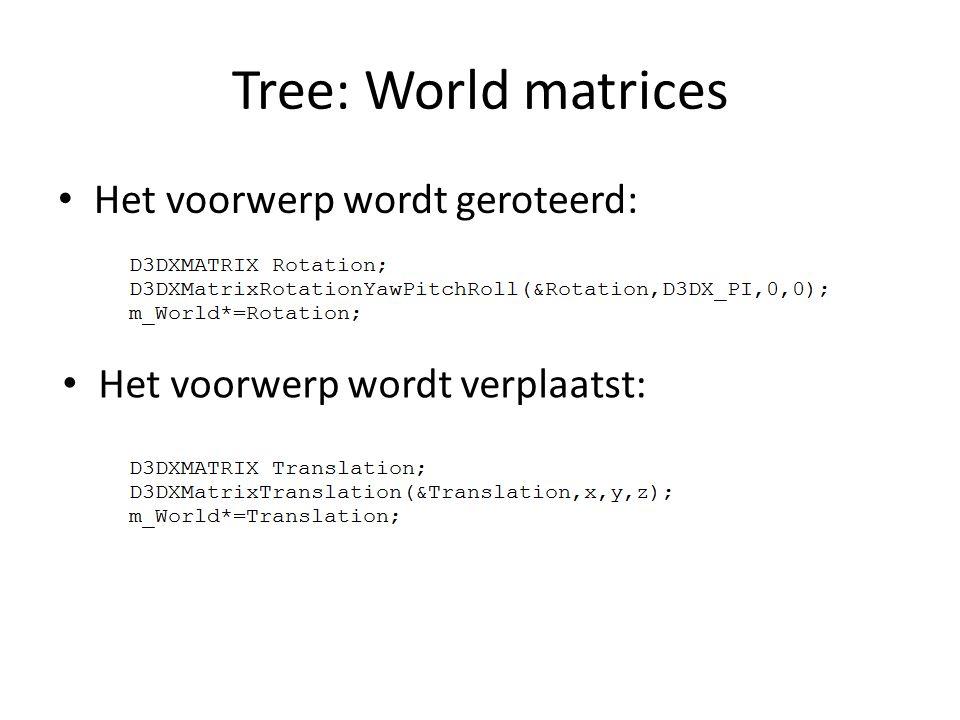 Tree: World matrices Het voorwerp wordt geroteerd: Het voorwerp wordt verplaatst:
