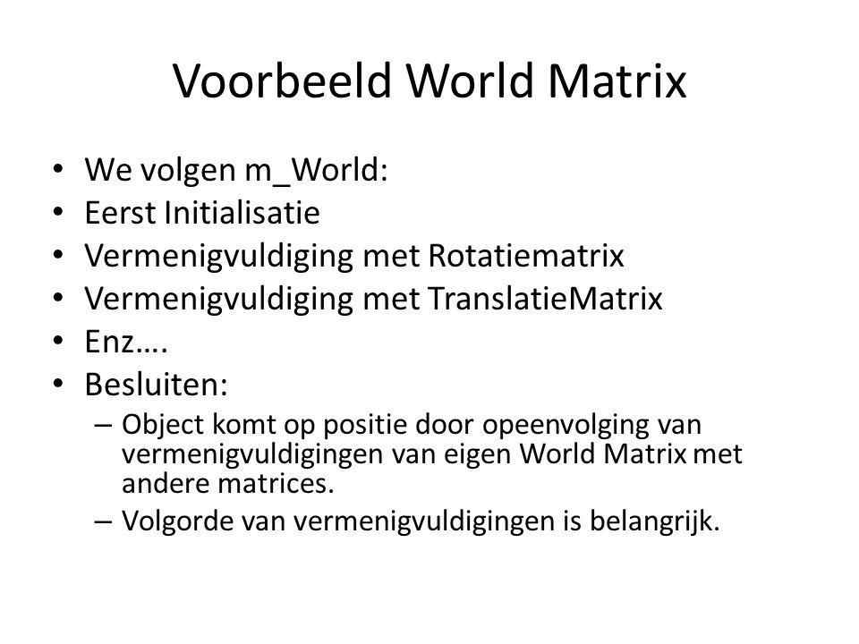 Voorbeeld World Matrix We volgen m_World: Eerst Initialisatie Vermenigvuldiging met Rotatiematrix Vermenigvuldiging met TranslatieMatrix Enz…. Besluit