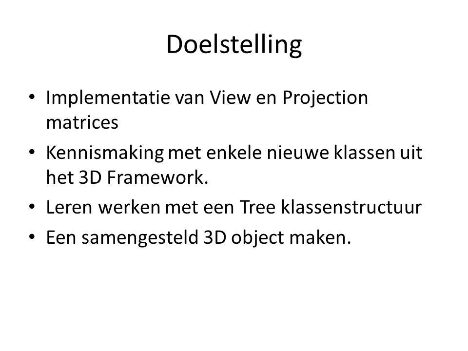 Doelstelling Implementatie van View en Projection matrices Kennismaking met enkele nieuwe klassen uit het 3D Framework. Leren werken met een Tree klas