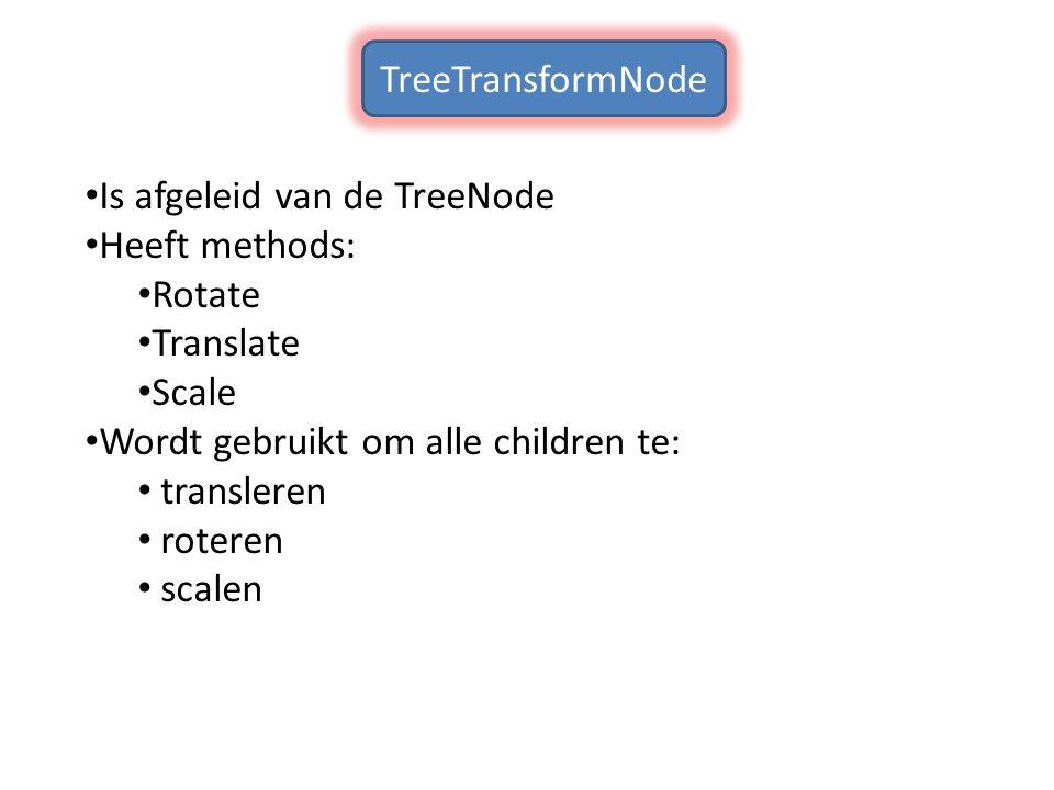 Is afgeleid van de TreeNode Heeft methods: Rotate Translate Scale Wordt gebruikt om alle children te: transleren roteren scalen TreeTransformNode
