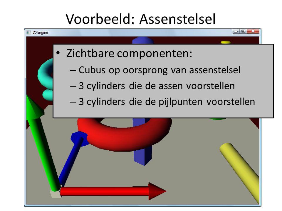 Voorbeeld: Assenstelsel Zichtbare componenten: – Cubus op oorsprong van assenstelsel – 3 cylinders die de assen voorstellen – 3 cylinders die de pijlp