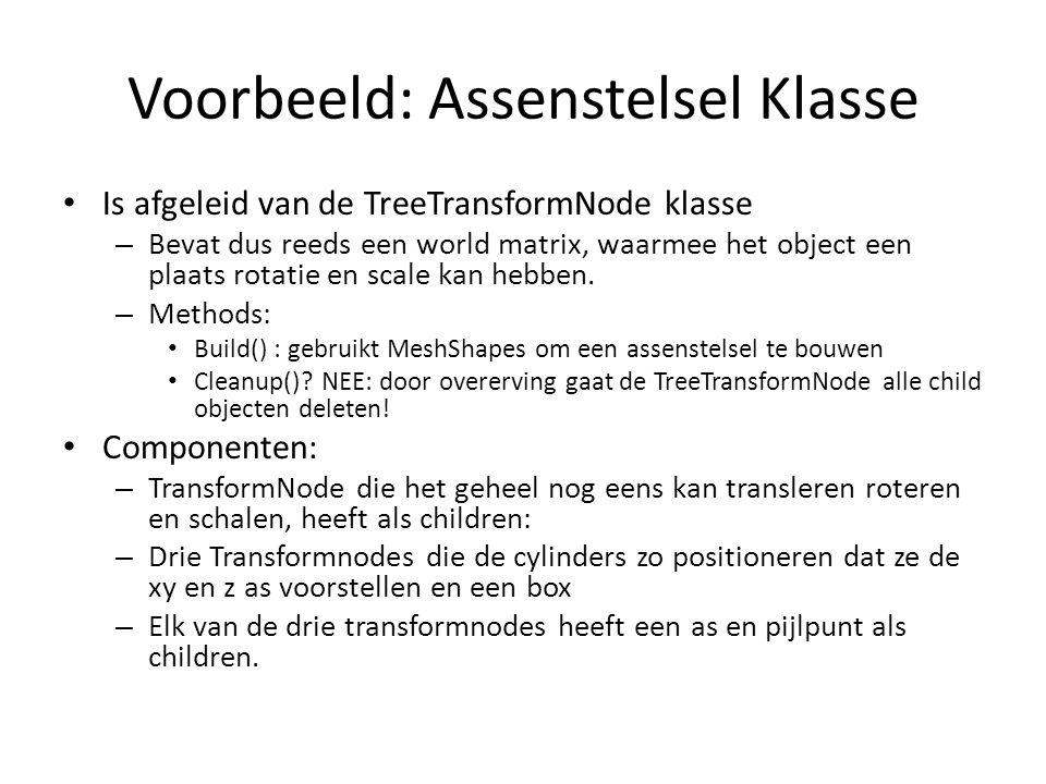 Voorbeeld: Assenstelsel Klasse Is afgeleid van de TreeTransformNode klasse – Bevat dus reeds een world matrix, waarmee het object een plaats rotatie e