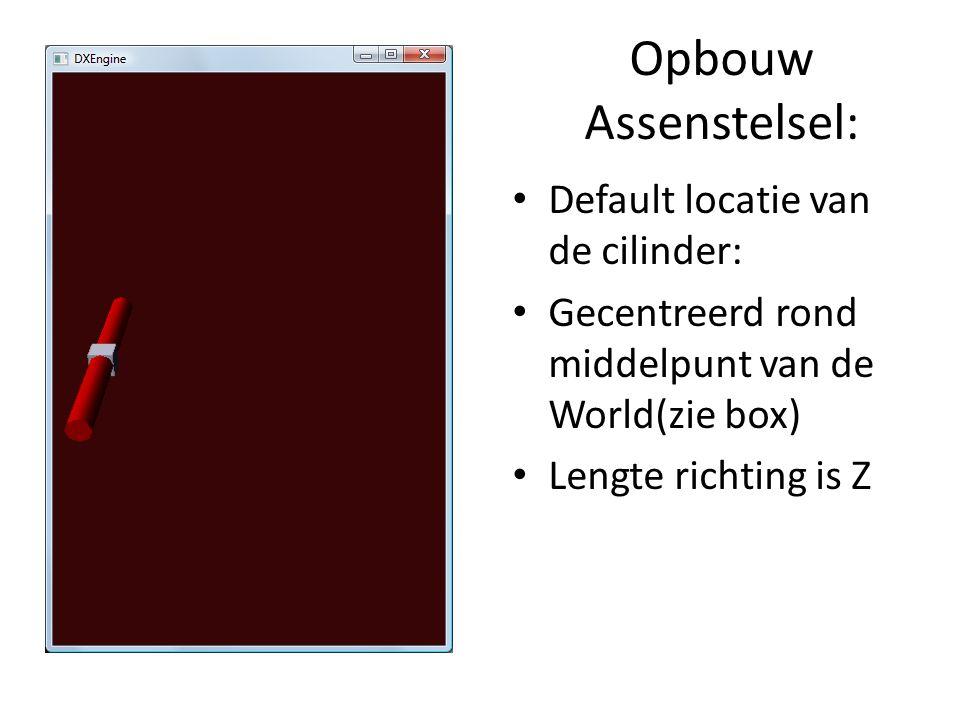 Opbouw Assenstelsel: Default locatie van de cilinder: Gecentreerd rond middelpunt van de World(zie box) Lengte richting is Z
