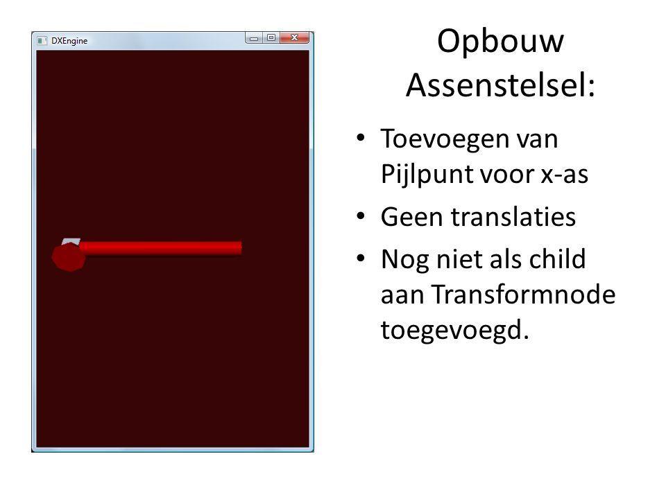 Opbouw Assenstelsel: Toevoegen van Pijlpunt voor x-as Geen translaties Nog niet als child aan Transformnode toegevoegd.