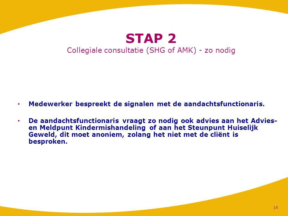 STAP 2 Collegiale consultatie (SHG of AMK) - zo nodig Medewerker bespreekt de signalen met de aandachtsfunctionaris. De aandachtsfunctionaris vraagt z