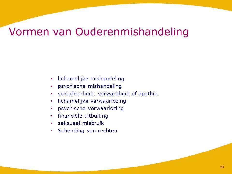 Vormen van Ouderenmishandeling lichamelijke mishandeling psychische mishandeling schuchterheid, verwardheid of apathie lichamelijke verwaarlozing psyc
