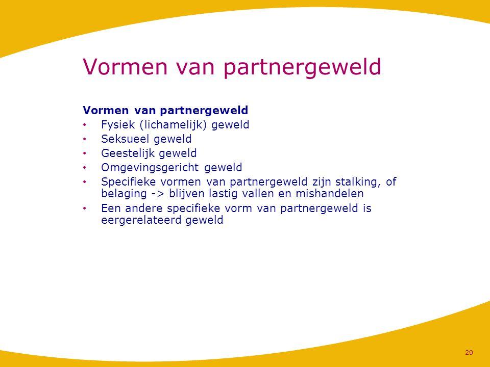 Vormen van partnergeweld Fysiek (lichamelijk) geweld Seksueel geweld Geestelijk geweld Omgevingsgericht geweld Specifieke vormen van partnergeweld zij