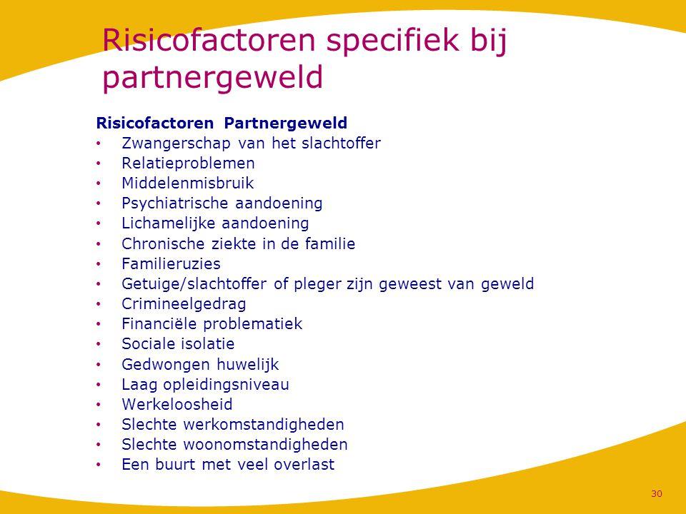 Risicofactoren specifiek bij partnergeweld Risicofactoren Partnergeweld Zwangerschap van het slachtoffer Relatieproblemen Middelenmisbruik Psychiatris
