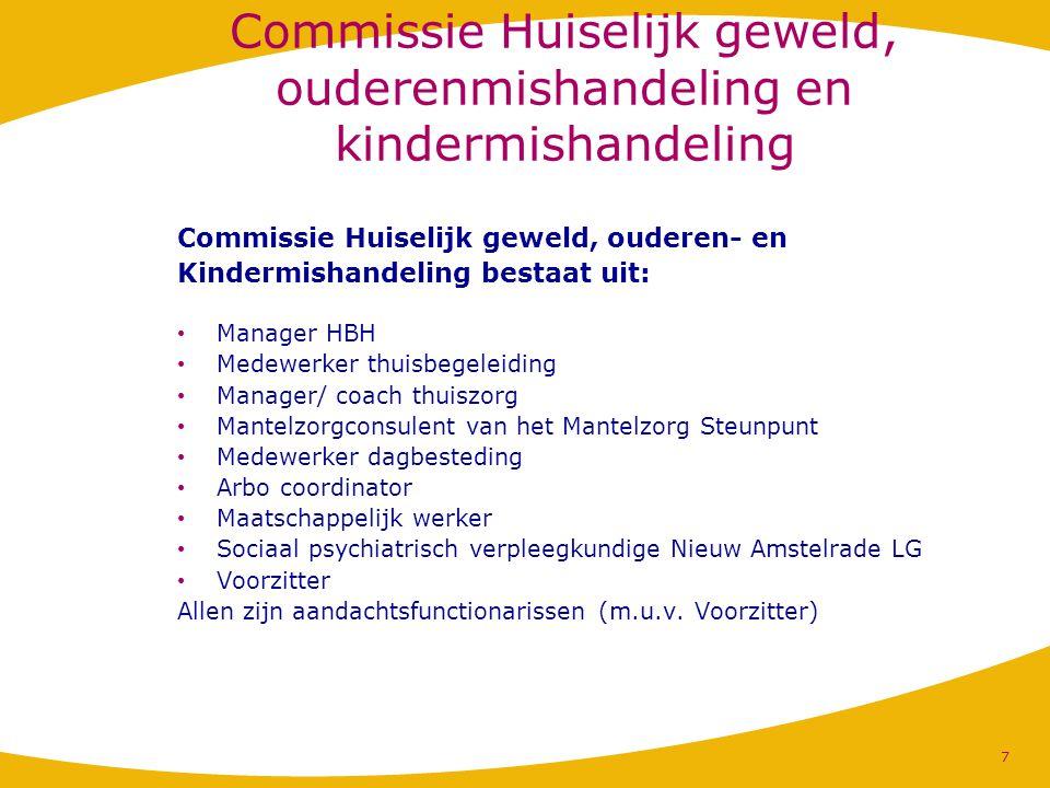 Commissie Huiselijk geweld, ouderenmishandeling en kindermishandeling Commissie Huiselijk geweld, ouderen- en Kindermishandeling bestaat uit: Manager