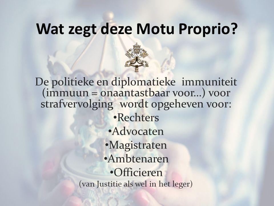 Wat zegt deze Motu Proprio.