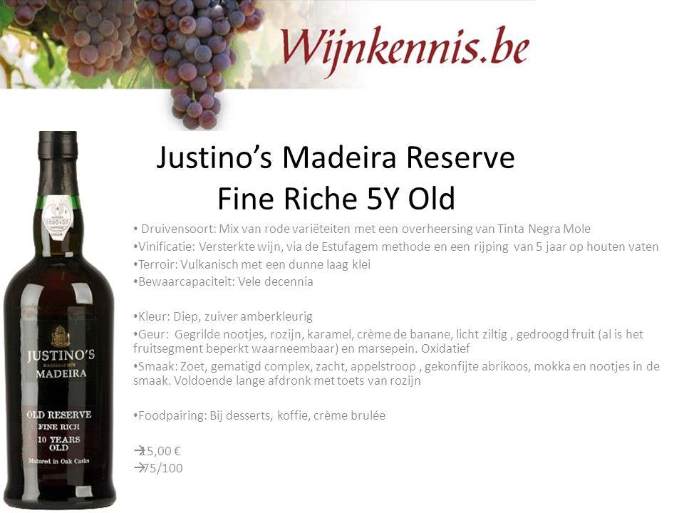 Justino's Madeira Reserve Fine Riche 5Y Old Druivensoort: Mix van rode variëteiten met een overheersing van Tinta Negra Mole Vinificatie: Versterkte w