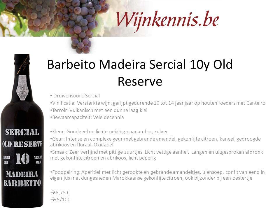 Barbeito Madeira Sercial 10y Old Reserve Druivensoort: Sercial Vinificatie: Versterkte wijn, gerijpt gedurende 10 tot 14 jaar jaar op houten foeders m
