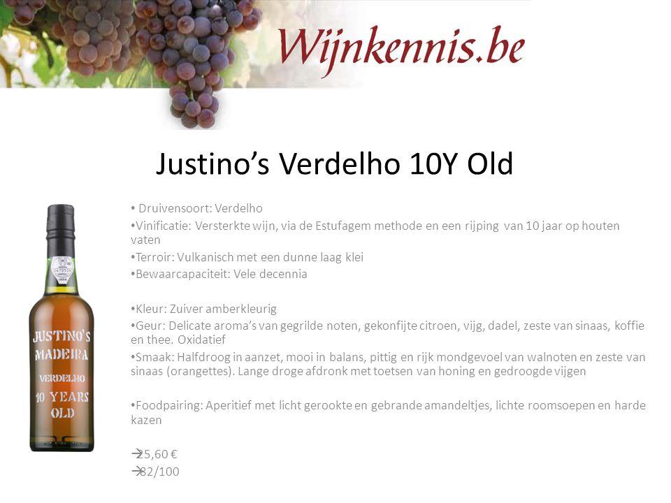 Justino's Verdelho 10Y Old Druivensoort: Verdelho Vinificatie: Versterkte wijn, via de Estufagem methode en een rijping van 10 jaar op houten vaten Te