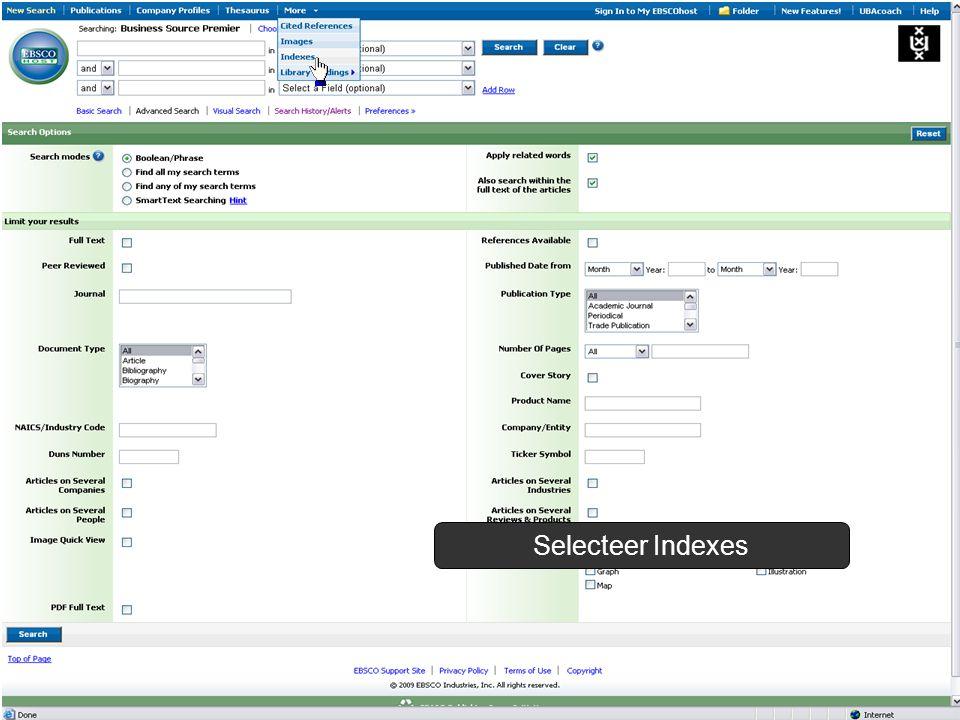 Selecteer Indexes