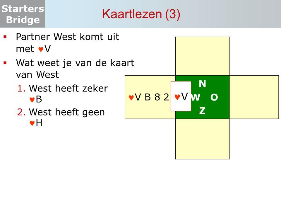 Starters Bridge Kaartlezen (3) N W O Z  Partner West komt uit met V  Wat weet je van de kaart van West 1.West heeft zekerB 2.West heeft geenH V V B
