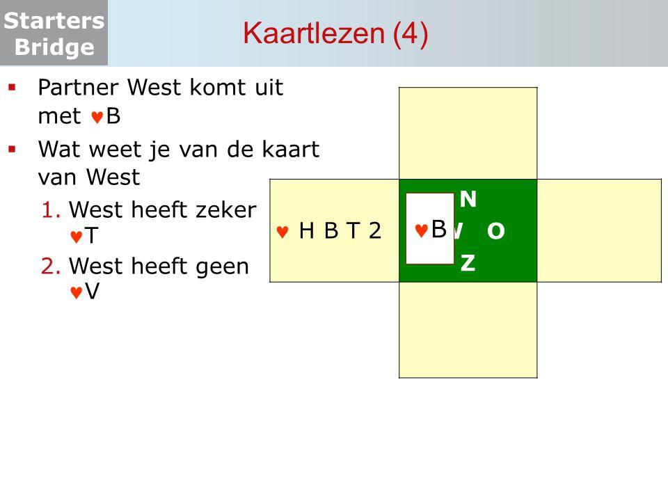 Starters Bridge Kaartlezen (4) N W O Z  Partner West komt uit met B  Wat weet je van de kaart van West 1.West heeft zekerT 2.West heeft geenV B H B