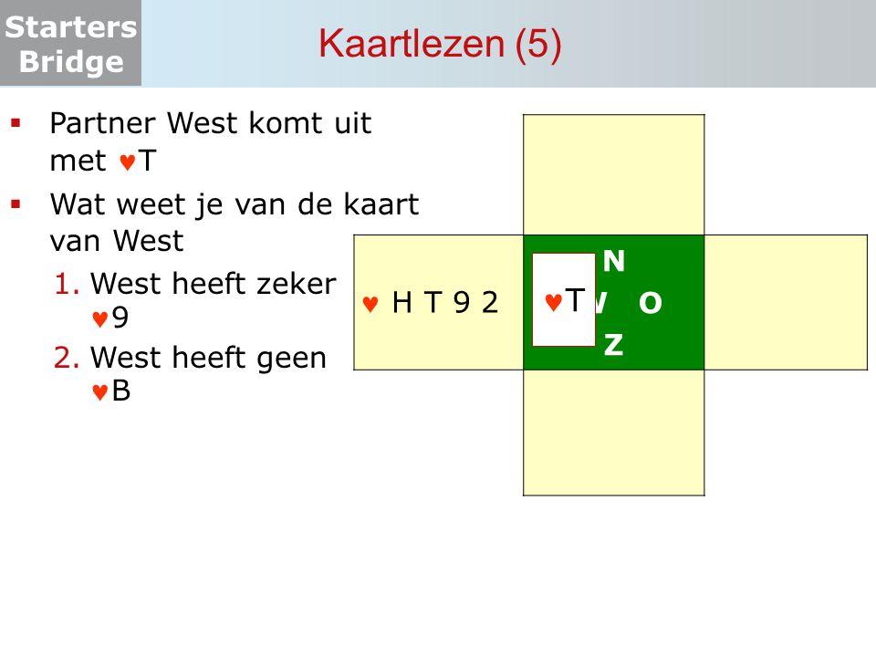 Starters Bridge Kaartlezen (5) N W O Z  Partner West komt uit met T  Wat weet je van de kaart van West 1.West heeft zeker9 2.West heeft geenB T H T