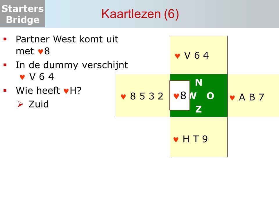 Starters Bridge Kaartlezen (6) N W O Z  Partner West komt uit met 8  In de dummy verschijnt V 6 4  Wie heeftH?  Zuid 8 8 5 3 2 A B 7 V 6 4 H T 9