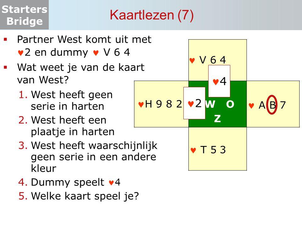 Starters Bridge Kaartlezen (7) N W O Z  Partner West komt uit met2 en dummy V 6 4  Wat weet je van de kaart van West? 1.West heeft geen serie in har