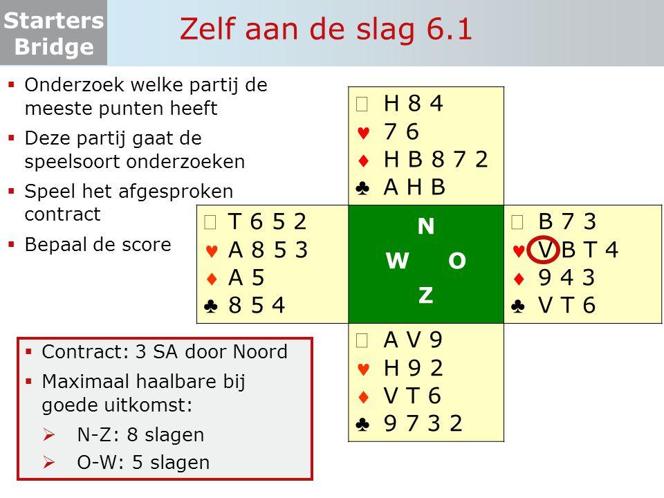 Starters Bridge Zelf aan de slag 6.1  Onderzoek welke partij de meeste punten heeft  Deze partij gaat de speelsoort onderzoeken  Speel het afgespro