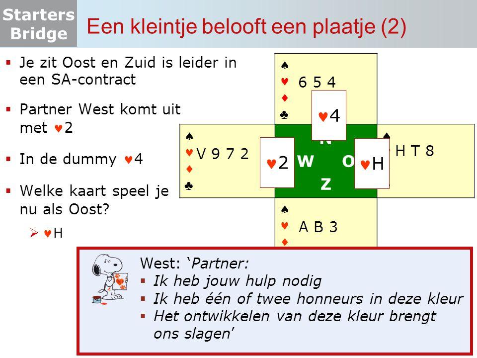 Starters Bridge  Je zit Oost en Zuid is leider in een SA-contract  Partner West komt uit met 2  In de dummy 4  Welke kaart speel je nu als Oost? 