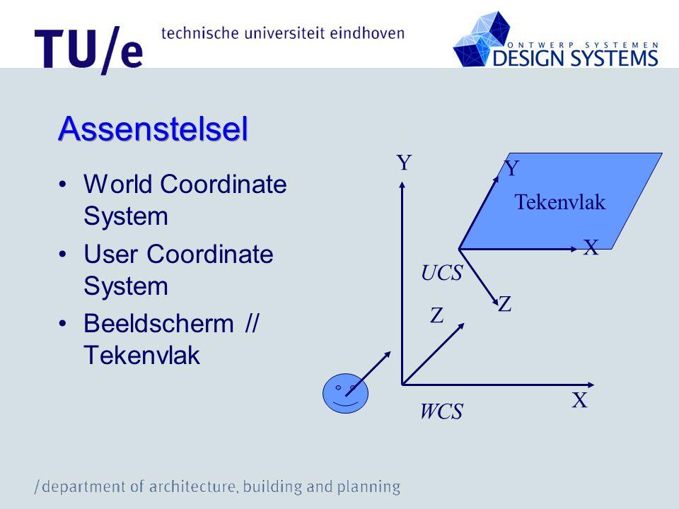 Assenstelsel World Coordinate System User Coordinate System Beeldscherm // Tekenvlak Tekenvlak X Y Z X Y Z WCS UCS