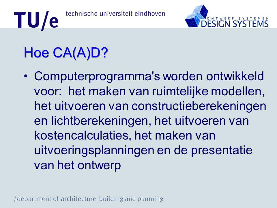 Hoe CA(A)D? Computerprogramma's worden ontwikkeld voor: het maken van ruimtelijke modellen, het uitvoeren van constructieberekeningen en lichtberekeni