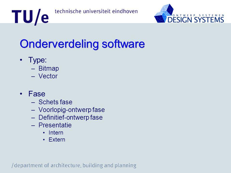 Onderverdeling software Type: –Bitmap –Vector Fase –Schets fase –Voorlopig-ontwerp fase –Definitief-ontwerp fase –Presentatie Intern Extern