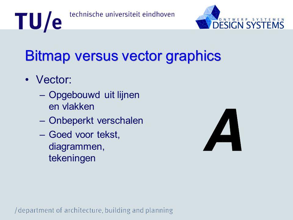 Bitmap versus vector graphics Vector: –Opgebouwd uit lijnen en vlakken –Onbeperkt verschalen –Goed voor tekst, diagrammen, tekeningen
